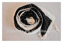 2012 fashion hot sell cotton lace scarf
