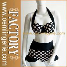 Black and white Dot women High Waist Retro Bikinis