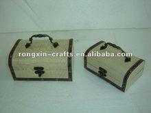 white leather wooden storage box
