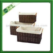 set 3 plastic laundry basket with handle