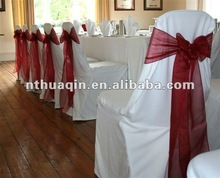 White polyester banquet chair cover with organza sash wedding chair cover