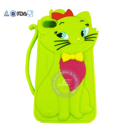 Green Lovely cat silicone case for Iphone 5 custom-made phone case manufacture