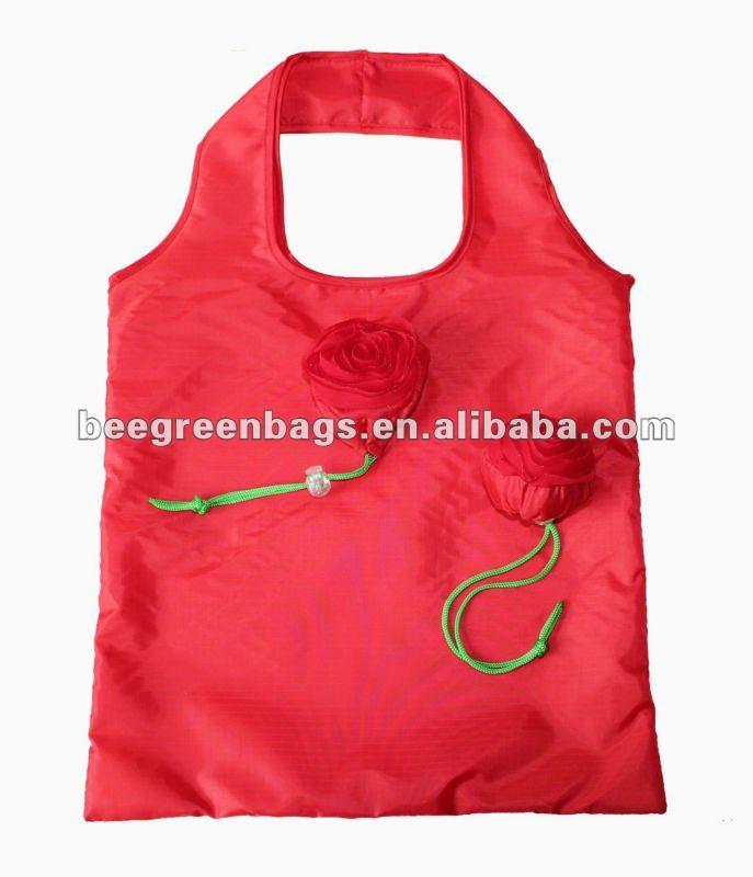 Rose Flower shape folding shopping bag