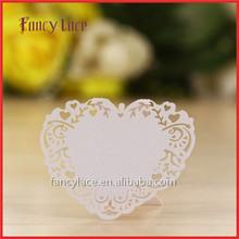 Popular Design Laser Cut Party Decoration,Elegant Love Heart Shaped Vine Seat Place Card Paper For Event Party Decoration
