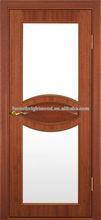 Modern Delicate Raised Molding Wood Glass Door Design, Mahagany glass door design