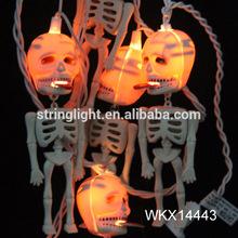 Wholesale plastic Halloween docorative skull string lights