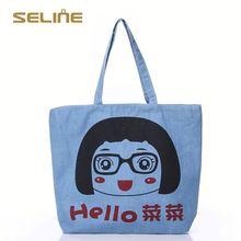 Fashion customized popular silk printed cotton bag
