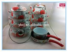 Munika 15pcs nonstick flower cookware set with lid gift promotion/nonstick cast iron cookware casserole sauce roast pan sets/