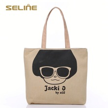 Fashion customized green eco-friendly tote cotton bag with long handles