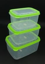 New 3pcs/set rectangle dual lock food box plastic container