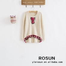 Front short back long design women pullover knitted rose pattern 100 nylon sweater
