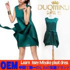 OEM china pleated apparel wholesale for factory 2015 Japanese brand Summer fashion trend sleeveless drape dress