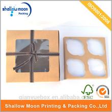 Custom brown kraft paper foldable cupcake muffin boxes
