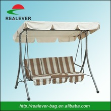 Promotional 3 seats garden swing with strip cushion/outdoor swing chair