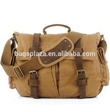 Canvas With Crazy Horse Leather Straps Hiking Men Messenger Canvas Tote Bag,Mens Canvas Shoulder Bags M3001