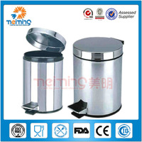 traditional and elegant round stainless steel foot pedal recycle bin