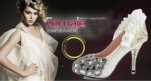 women wedding shoe crystal high heels 2013 white crystal wedding shoes with red sole crystal
