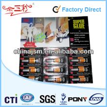 Plastic Bottle Super Glue 502 Blister Card 1.5g to 3g