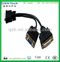 15 Pin HDB VGA to DVI-D Dual Cable Link Splitter Adapter
