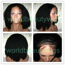 mongolian virgin human hair full lace wig afro curly for black woman gluless wig cap