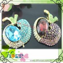apple-shaped alloy rhinestone brooch ,rhinestone ornament