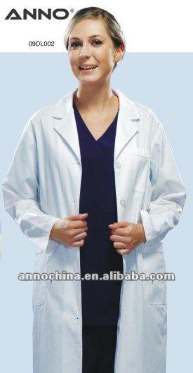 Médical blanc médecin uniforme dame laboratoire manteau