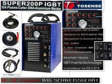 IGBT Inverter 200A AC DC ARC/TIG PULSE aluminium welder 50A plasma cutter