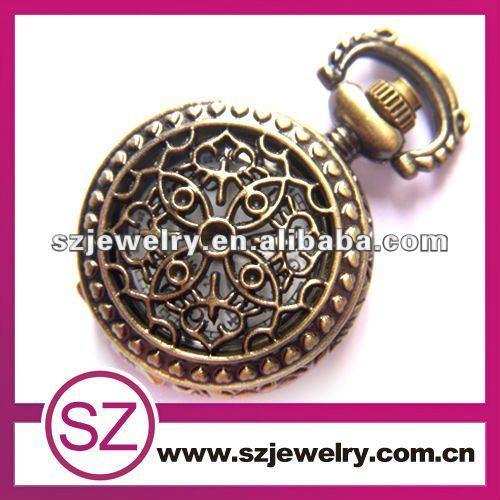calado de latón de estilo antiguo collar colgante una pieza de reloj de bolsillo