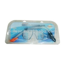 Tempered Glass PC Frame Mask & Silicone Strap And PVC Middle Part Snorkel Set (M4204+SN26)