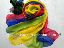 Fashion design 100% Silk Long Chiffon Multi Scarf