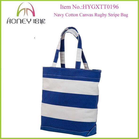 China Supplier 2014 Navy Stripe Woman Handbag Canvas Stripe Beach Tote Bag