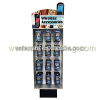 wireless accessories front hanging display with metal hook for shop retail promotion items currogated peg cardboard display rack