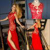Red Color Scoop Neck Lace Bodice Side Slit Sexy Style Sheath Short Cap Sleeve Sexy Evening Dresses Fashion 2013