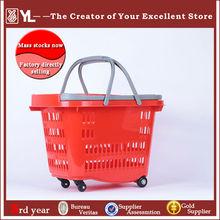Plastic telescope supermarket rolling Shopping basket with wheels