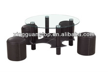 modern black glass coffee table with 4 stools