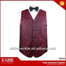 Red Paisley Wedding Vest Suits for Men 2013