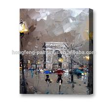 impressionist Paris street knife handmade oil painting