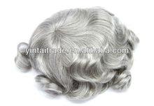 Grey Curly Wavy Monofil Hand Tied Men's Wig,virgin human hairToupee