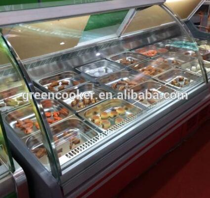 Levantamento frontal de vidro peixe exibição vitrine refrigerador