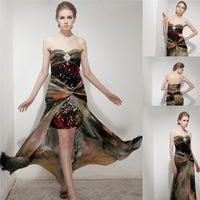 2015 new style sweetheart short front long back chiffon sequined printed color prom dress AS273