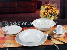 White ceramic fine porcelain living ware dinner set in round shape
