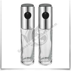Home & Kitchen 2Pcs Stainless Steel Glass Vinger Bottle Small Olive Oil Glass Bottle