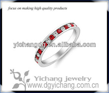 Stainless Steel Eternity Stackable Ruby Red & Clear CZ Guard Band Ring