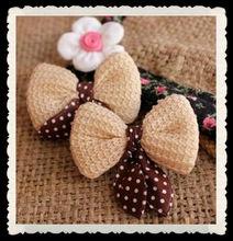 cute fabric knit polka dots hair bow,hair decoration