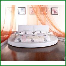 Modern King Size Euro Design White Round Bed G6804#