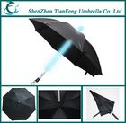 Shaft shine straight LED umbrella with torch