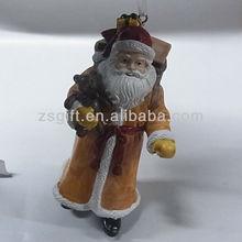fashionable hand-painted christmas polyresin santa ornaments