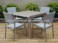Sillas de mimbre y plástico mesa de madera utilizado para el restaurante/al aire libre silla de comedor y mesa