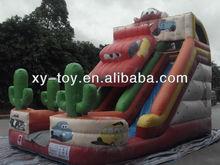 happy inflatable jungle party slide, big car inflatable slide, fire truck dry slide