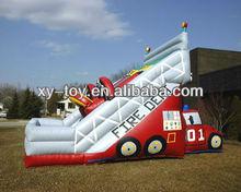 fire theme inflatable slide, fireproof dry slide, fire truck inflatable wet slide